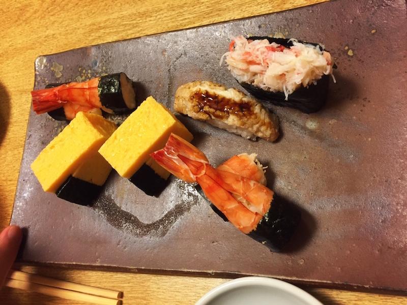 阿部のお寿司(玉子、ジャンボ海老、カニ、あなご)